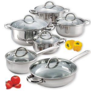 Cook N Home 12-Piece Stainless Steel Cookware Set: