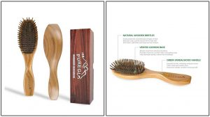 PureGLO Wooden Bristle Detangling Hairbrush