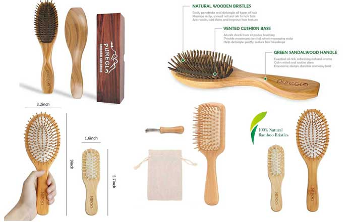 tek wooden hair brush